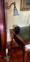 Antique Vintage Jadeite Bridge Floor Lamp , Original Gorgeous Antique Shade