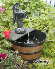 Solar Water Fountain Tap and Half Barrel Cascade Feature Outdoor Garden Porch