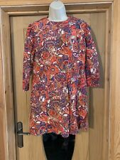 VINTAGE Red Paisley Cotton BleNd Mini Mod Dress Retro Size 8/10