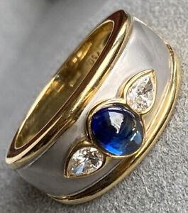18K White Yellow Gold Blue Sapphire Cabochon Pear-Cut Diamond Ring Band Sz 6.25