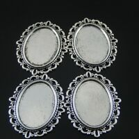 15pcs Vintage Silver Alloy Oval Lace Cameo Setting Tray 25*18mm Charm 37727
