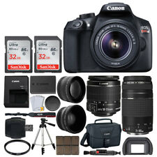 Canon EOS Rebel T6 DSLR Camera + Canon 18-55mm & EF 75-300mm Lens + 64GB + More