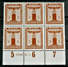 WW2 REAL HITLER 3rd REICH ERA GERMAN BLOCK OF 6 OFFICIAL STAMPS WITH MARG