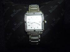 Bulova Diamante Mujer Detalle Reloj Acero Inoxidable 96r143 Nib