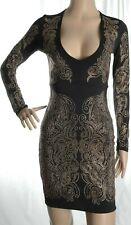 River Island black bronze metallis studded bodycon dress size 6 UK 34 Eur