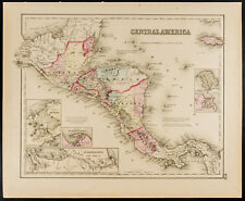 Carte ancienne (1857) Amérique centrale [Colton]. Antique Map Central America
