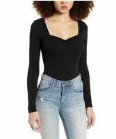 BP Women's Black Ribbed Sweetheart Neck Bodysuit Small