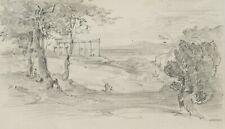 J.LANGE(*1817), Ansicht von Paestum, Tempel, 19.Jhd., Bleistiftzeichnung