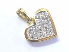 Princess Cut Diamond Invisible Set Heart Pendant 18Kt Yellow Gold 1.00Ct