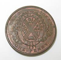 .SUPERB HIGH GRADE aUNC 1837 CANADA CANADIAN 1 PENNY BANK TOKEN.