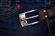 """Handmade designer leather belt """"Skull - Silver"""""""