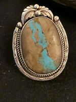 Mens Navajo Native American Sterling Silver Blue Boulder Turquoise Ring Sz 9 548