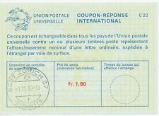 "Switzerland"" 8037 Zurich 37/wipkingen ""k1 1.80 FR. International Reply Slip"