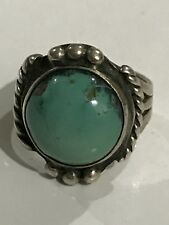 Native American Indian Jewelry Sterling Silver Turquoise Ring, Size 3.75