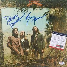 AMERICA Signed HAT TRICK Vinyl RECORD Album Dewey Bunnell GERRY BECKLEY PSA DNA