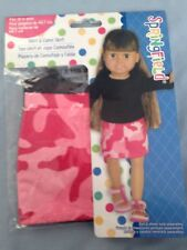 """Springfield Doll Clothes -Black Top & Camo skirt -fits American Girl/18"""" doll"""