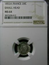 20 CENTIMES FRANCE 1853 A NGC MS 64