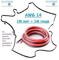 2 mètres de fil électrique extra souple AWG 14, imprimante 3D, modelisme, CNC