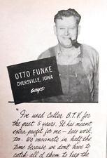 PHOTO ENDORSED BY OTTO FUNKE OF DYERSVILLE IOWA Orig 1949 Farm Animal Care Ad