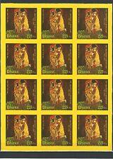 Bután 2012 arte painting pinturas g klimt The Kiss seda stamps on silk rar mnh