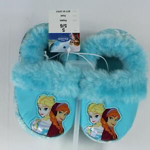 NEW Toddler Disney Frozen Light Aqua Bur Turquoise Slippers Anna & Elsa Size 5/6