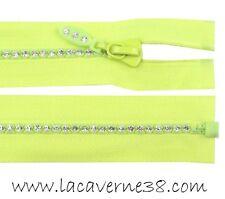 Fermeture éclair zip fantaisie strass séparable 60 cm maille 4mm citron mercerie