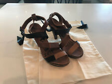 LANVIN BROWN BLACK STRAPPY SANDAL PUMP WEDGE SZ 38 1/2 WITH RECEIPT