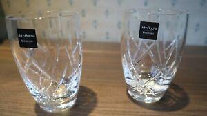 2 Waterford Crystal John Rocha Seda Large Tumblers Pristine Signed+Labels 12.5cm
