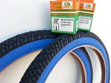 "1 PAIR 20X2.25 BMX BICYCLE STREET BLK/BLUE TIRES & 2-20"" TUBES *FREE RIM LINERS"