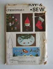 Kwik Sew 828 Pattern CHRISTMAS 1 Sants Scene, Tree Skirt, Stocking, 8 Ornaments