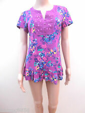 New M&S Purple Floral Sequin Embellished 100% Cotton Top Sz 12