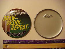 BEER BUTTON Pinback ~*~ Home Brew Stuff .com ~*~ 3 Steps to Enjoying Great Beer!