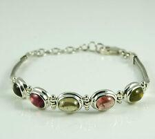 925 Sterling Silver Tourmaline Cystal Chain Link Bracelet Jewelry 9.9g