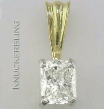 Certificated Diamond Solitaire Pendant 1.00ct Radiant Cut 18ct Gold with Chain