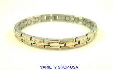 "Stainless Steel Magnetic 7.5"" Bracelet 2 Tone Silver Narrow SS6029N"