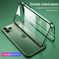 360° Case for iPhone 12 Mini 11 Pro Max Magnetic Adsorption Tempered Glass Cover