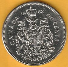 1968 Canada 50 Cents Circulated, XF, Coins Canadian Half Dollar 50c Fifty Cents.