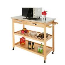 New listing Kitchen Rolling Cart Universal Wheel Wood trolley Island w/ Storage Drawer&Shelf