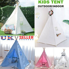 Kids Indian Teepee Tent Canvas Children Wigwam PlayHouse Outdoor Toys Xmas Gift