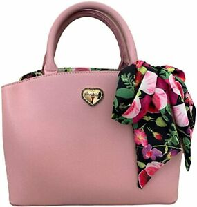 New Betsey Johnson Triple Compartment Satchel with Scarf Pink Blush