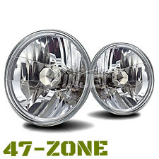 """Univeral 7"""" Round Chrome Housing Clear Lens Replacement Driving Headlights Lamps"""