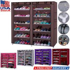 Portable 6/7 Tier Shoe Rack Shelf Storage Closet Home Organizer Cabinet w/ Cover