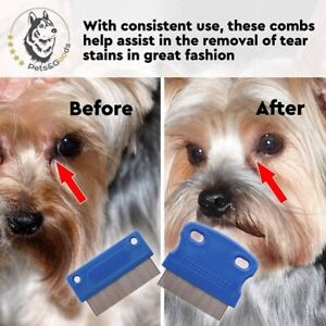 Dog Grooming Comb Pet Tear Stain Remover Gently Mucus and Crust Small Lice set 2