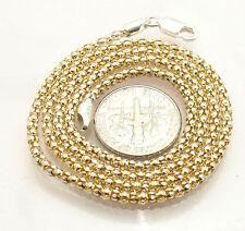 "Necklace 14K Yellow Gold Clad Silver 18"" Italian Two-Tone Popcorn Coreana Chain"