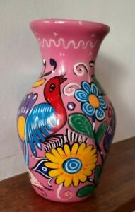 """Amazing Vintage Bright Pink Hand Painted 8"""" Vase - Mexican? Beautiful Colours!"""