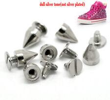 10 Silberfarbe Kugeln Niete Kegel Punk Spike Ziernieten Nieten Schraubbar Neu