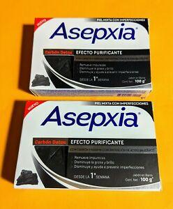 2x ASEPXIA CHARCOAL ACNE BAR SOAP † JABON PARA ACNE ASEPXIA CARBON MEX