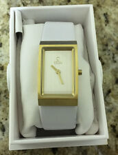 OBAKU HARMONY LADIES QUARTZ WATCH NEW GT SS DIAL V127LGIRW WHITE LEATHER STRAP