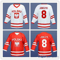 Retro Wieslaw Jobczyk #8 Team Polska Hockey Jerseys Stitched Poland Custom Names