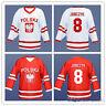 Retro Wieslaw Jobczyk #8 Team Polska Hockey Jerseys Stitched Poland Custom Names